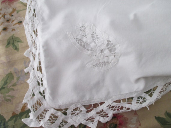 LARGE Shabby Chic White PILLOW SHAM cotton battenburg lace