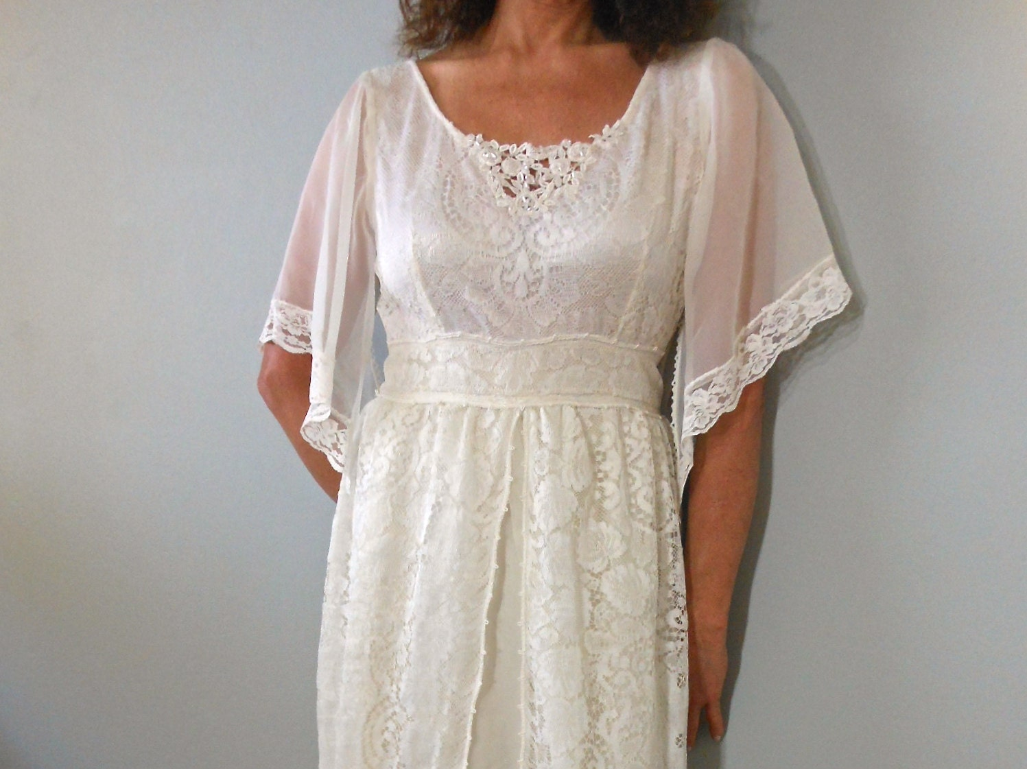 French Country WEDDING Dress Crystal Beaded Chiffon Lace