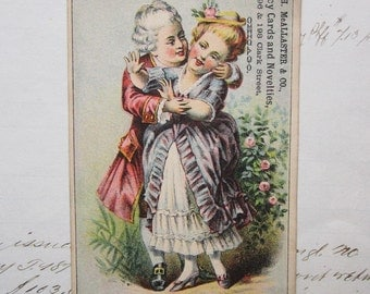 antique Victorian trading card - victorian lovers, Fancy Cards and Novelties, Chicago - ephemera, VTC, advertising - e67