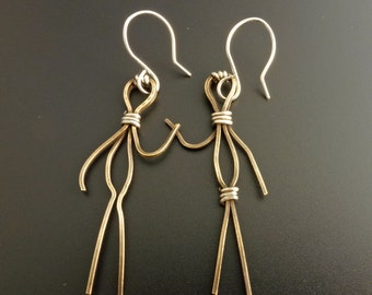 Couple (People) Earrings in Vintage Brass (or Copper) and Sterling Silver