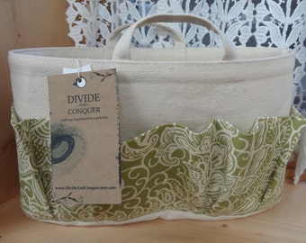 Purse ORGANIZER insert SHAPER with handles / Green & Natural Print / Sturdy / 5 sizes available / Check out my shop for more variety