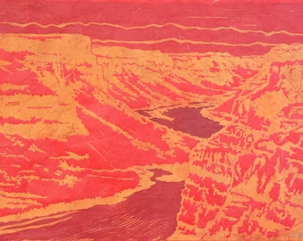 Evening Canyon - Original Linocut Print