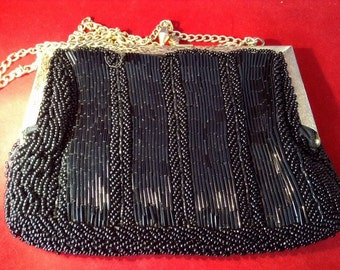 La Regale Black heavily beaded Bag c. 1950 - Stunning