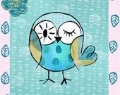 Art Print, illustration, Turquoise,Owl,