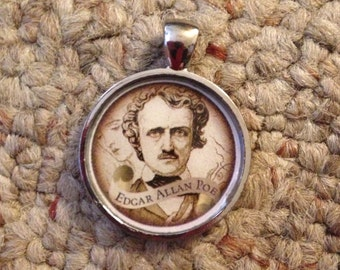 Edgar Allan Poe Image Pendant Necklace-FREE SHIPPING-