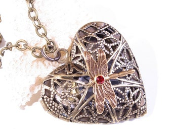 Heart Locket Necklace Steampunk Heart Necklace Dragonfly Necklace
