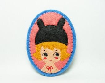 50% SALE Rabbit Girl Felt Brooch / Miniature Portrait Brooch / Cute Girl Felt Pin / Animal Lover Brooch / Kawaii Girl Brooch / Rabbit Brooch