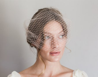 double layer tulle and french net bandeau veil #1005