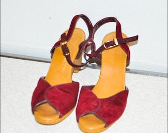 Hippie 1970s Burgundy Red Purple Suede BOHO Bohemian YOYOS Wedge Heel Shoe