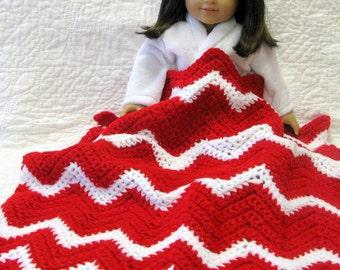Crocheted Doll Blanket Sasha Doll American Girl Doll Chevron Gotz Doll Throw Lap Blanket Kidz n Cats Doll Comforter Picnic Blanket