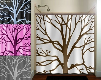 brown tree branches shower curtain bathroom decor fabric kids bath window curtains panels valance bathmat