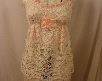 Lace Top Blushing Rose Romance with Vintage Crochet Work