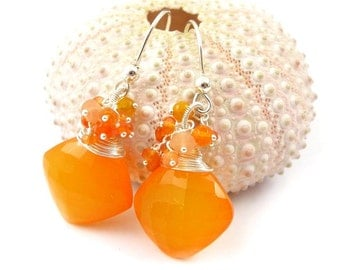 Orange gemstone earring ,sterling silver jewelry, dangle earring
