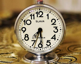 Vintage Soviet Alarm Clock  - Slava - Working Mantle Desk Table Clock - 11 Jewels - Made in USSR - 1980s - from Russia / Soviet Union / USSR