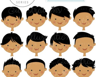 Dark Skin Boy Faces - Create A Character Series - Cute Digital Clipart - Commercial Use OK - Mix & Match Sets to Create Your Own Character