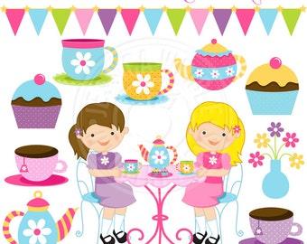 Tea Party Cute Digital Clipart - Commercial Use OK - Little Girls Tea Party Clipart, Tea Party Graphics, Tea Pots, Tea Cups