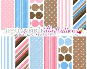 Baby Bump Cute Digital Papers Backgrounds for Invitations, Card Design, Scrapbooking, and Web Design