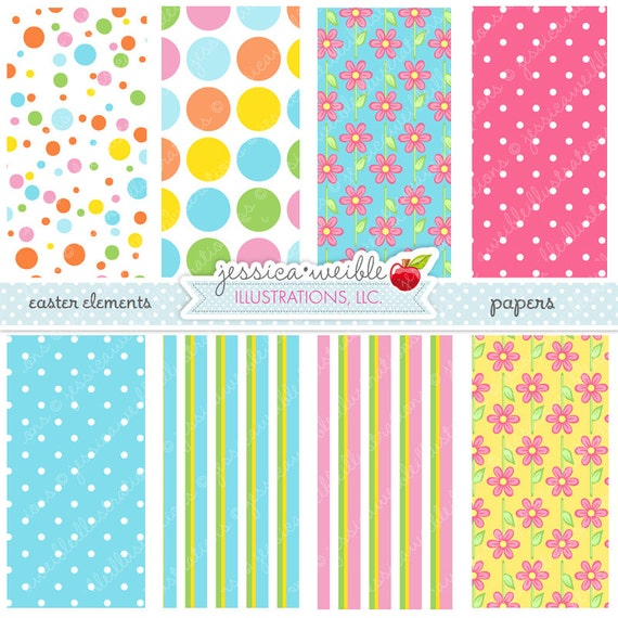 Easter Elements Cute Digital Papers - Commercial Use OK - Easter Patterns, Easter Backgrounds, Easter Papers