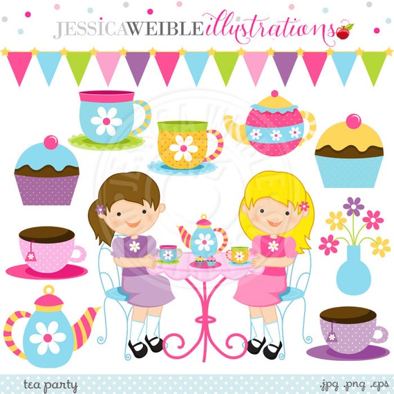 Tea Party Cute Digital Clipart - Commercial Use OK - Little Girls ...
