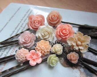 Peach collection bobby pin big peach rose, hibiscus, ivory cherry blossom, dahlia peach, ivory and peach rosebud 12pcs