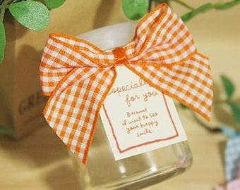 5 Check Ribbon Tag Twist Ties - Orange (3.1 x 2.4in)