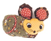 Vintage Mini Mouse Shaped Plushie or Stuffie Animal Doll in Brown