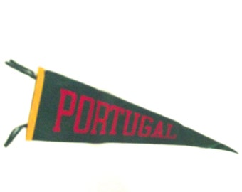 Vintage Felt Souvenir Pennant from Portugal in Green, Red and Gold