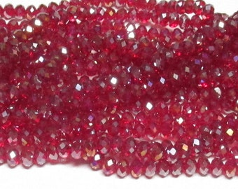 4x6mm Dark Siam AB Faceted Crystal Rondelle Beads 4x6mm crystal 6mm crystal rondelle 4x6mm glass crystal #4x6OPSICC