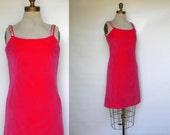 Vintage Party Dress 60s Pink Velvet Wiggle Dress with Sequins, Medium
