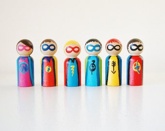 The Super squad - Super Hero Set Of 6 - Wooden Dolls - Party Favors - Zooble Stocking Stuffer - Unique Gift Idea