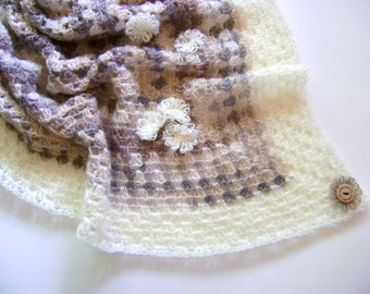 HALF OFF - Hand Crocheted Baby Blanket - Beautiful Neutral Colors