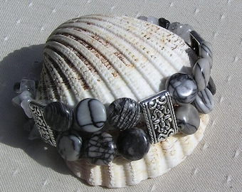 "Gemstone Crystal Bracelet, Zebra Jasper & Rutilated Quartz ""Marais"", Black Bracelet, Chakra Bracelet, Gemini Bracelet, Quartz Bracelet"