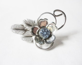 flower  brooch blue rhinestone and silver tone something old something blue