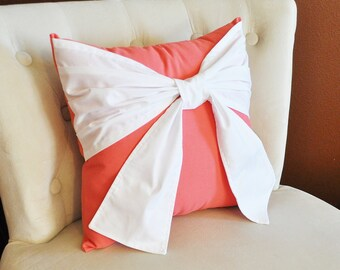 Throw Pillow, White Bow on Coral Pillow 14x14 Coral Home Decor, Decorative Throw Pillows