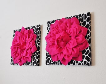 """set of TWO Wall Art -Hot Pink Dahlia Flowers on Black and White Giraffe Print 12 x12"""" Canvas,  Dorm Decor Teen Girl Gift New Mother Gift"""