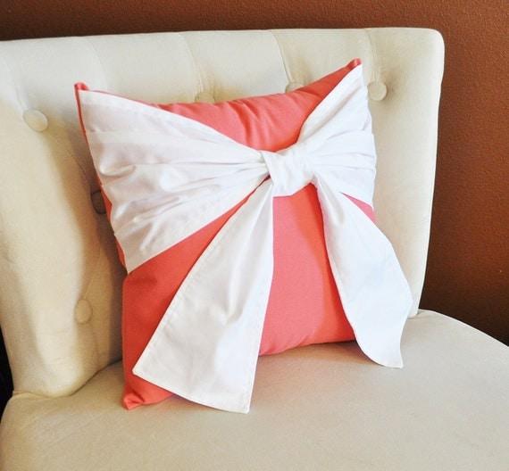 White Throw Pillows Etsy : Items similar to Throw Pillow, White Bow on Coral Pillow 14x14 Coral Home Decor, Decorative ...