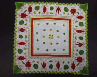 Vintage Handkerchief Autumn Leaf Design (vh168)