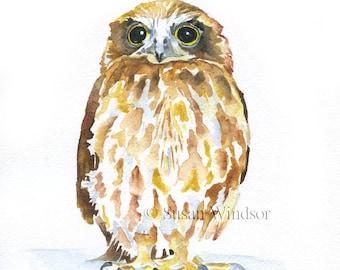 Owl Watercolor Painting Giclee Print 5 x 7 Woodland Animal Art Print