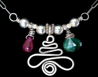 FREE SHIPPING---Emerald Ruby Swirly Hill Tribe Silver Tree Dangle Necklace---Sterling Silver---Creations by Sandy