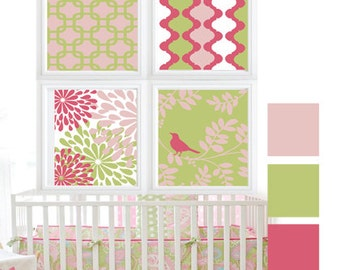 Digital green , baby pink and white Bird in Trees, Wall Art Print - Set of (4)
