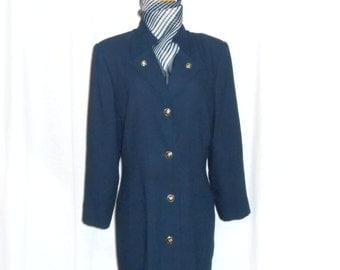 Womens Vintage Coats Coat Dress Navy Blue Dress Coat Blue Coat Military Coat Womens Vintage Clothing