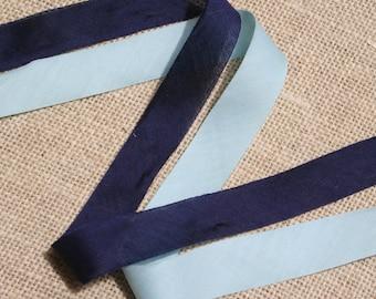 Vintage Bias Tape Roll Navy Blue Light Blue Cotton 2 Rolls