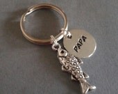 Papa Handstamped Keyring with Fish Charm