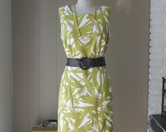 Bamboo shift dress moss green leaves Vacation holiday dress designer sleeveless shift dress medium