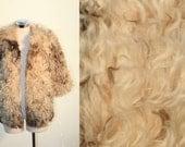 Vintage 1970s Rocker Boho Cream Soft Curly Lamb Fur Jacket Coat