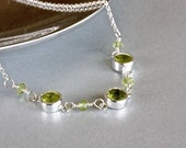 Faceted Peridot Necklace, Bezel Necklace, Sterling Silver Jewelry, Green Jewelry