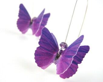 Purple Earrings - Purple Dangle Earrings - Radiant Orchid Jewelry - Purple Butterfly Costume Accessory - Recycled Paper Earrings