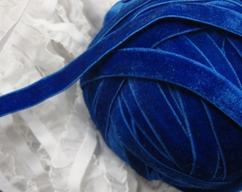 "3 yards 3/8"" width blue velvet elastic / stretch velvet ribbon"