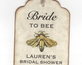 50 Bride To BEE Wedding Bridal Shower Favor Gift Tags / / Honey Jar Label Tags / Personalized - Vintage Style