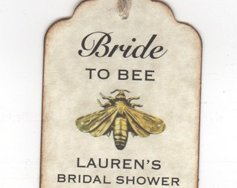 50 Shower Favor Honey Bride To BEE Tags For Bridal Wedding Shower Honey Jar Label Tags, Personalized Honey Favor Label Tags Vintage Style
